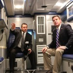 NC Congressman Hudson (right) tours the SPCC Ambulance Simulator